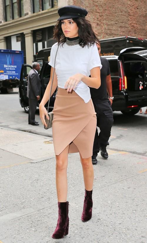 tan-pencil-skirt-white-tee-choker-lob-brun-kendalljenner-hat-purple-shoe-booties-fall-winter-lunch.jpg