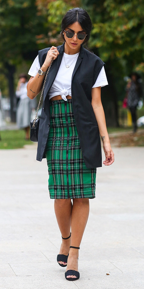 green-emerald-pencil-skirt-plaid-print-white-tee-tied-black-shoe-sandalh-black-vest-tailor-brun-sun-black-bag-spring-summer-lunch.jpg