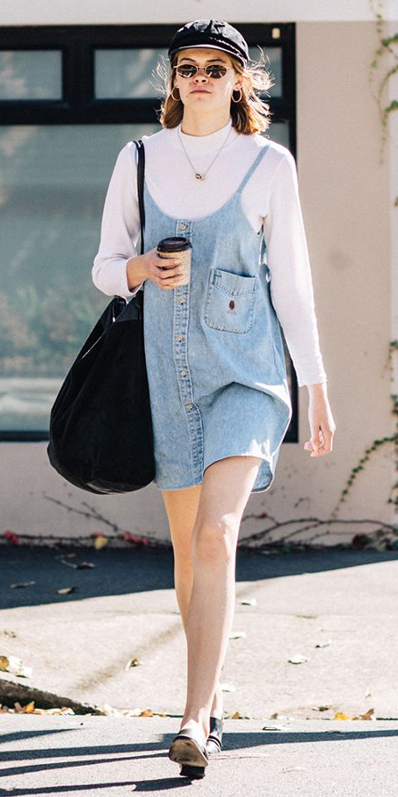 blue-light-dress-jumper-white-tee-layer-hat-sun-hairr-lob-black-bag-fall-winter-weekend.jpg