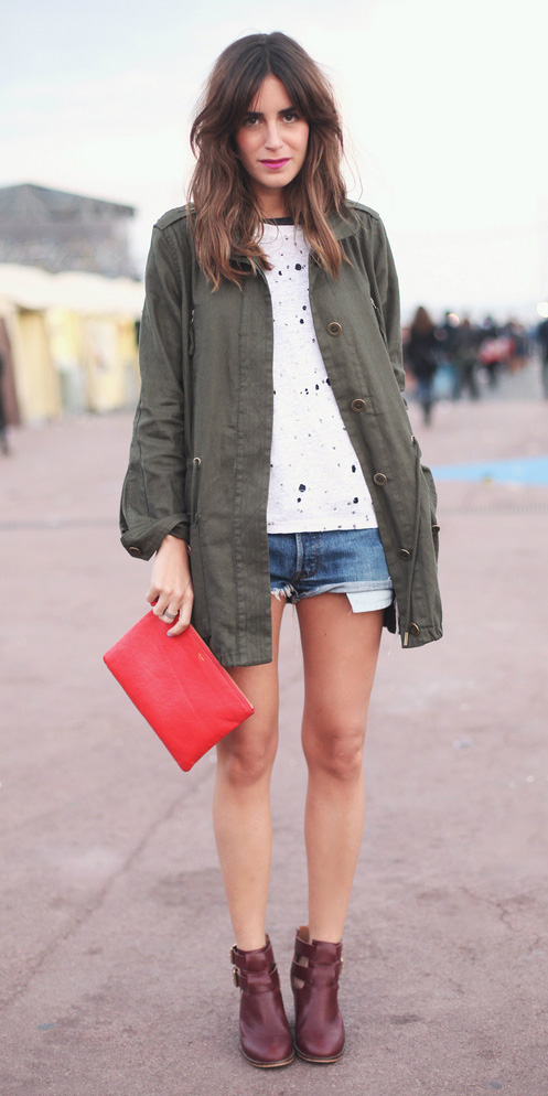 blue-med-shorts-white-tee-hairr-red-bag-clutch-burgundy-shoe-booties-green-olive-jacket-utility-fall-winter-weekend.jpg