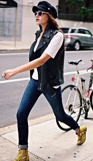 blue-navy-skinny-jeans-yellow-shoe-booties-hat-sun-white-tee-black-vest-moto-fall-winter-weekend.jpg