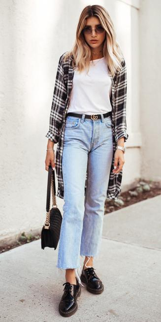 black-dress-shirt-plaid-asjacket-white-tee-blonde-sun-black-bag-blue-light-crop-jeans-black-shoe-brogues-fall-winter-weekend.jpg