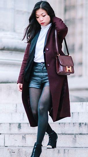 black-shorts-white-tee-turtleneck-burgundy-jacket-coat-burgundy-bag-brun-black-tights-black-shoe-booties-fall-winter-lunch.jpg
