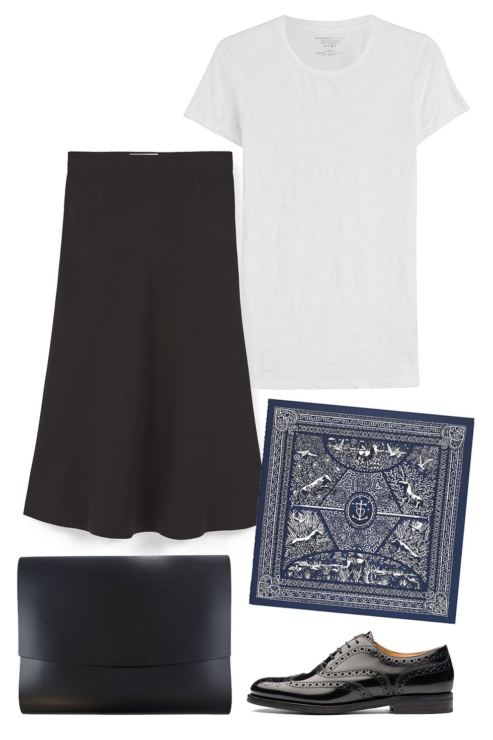 how-to-style-black-midi-skirt-white-tee-black-shoe-brogues-blue-navy-scarf-neck-fall-winter-fashion-work.jpg