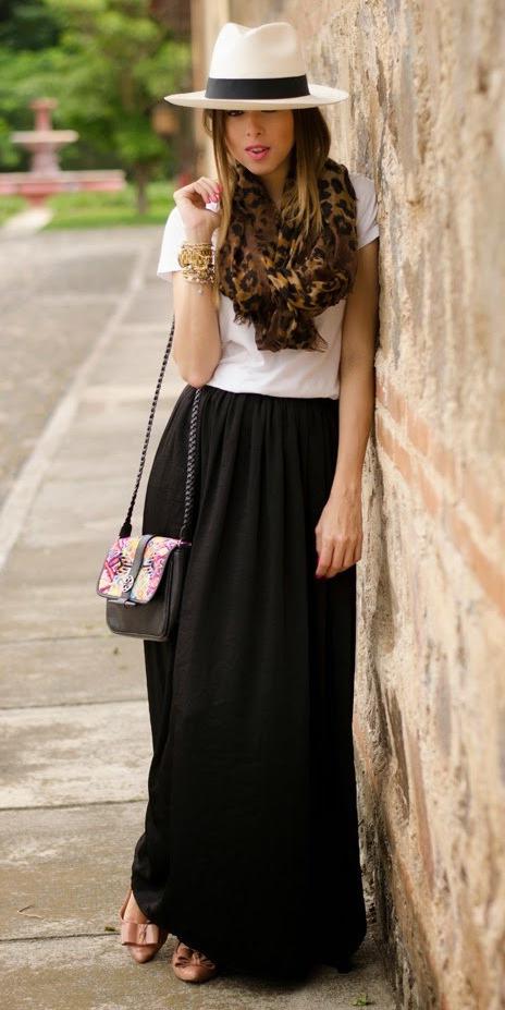 white-tee-brown-scarf-leopard-print-hat-panama-hairr-black-maxi-skirt-spring-summer-weekend.jpg
