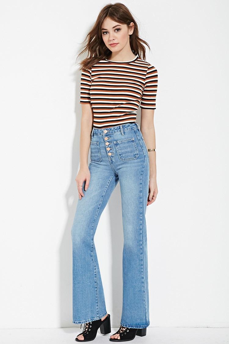 blue-light-flare-jeans-camel-tee-stripe-black-shoe-sandalh-spring-summer-hairr-lunch.jpg