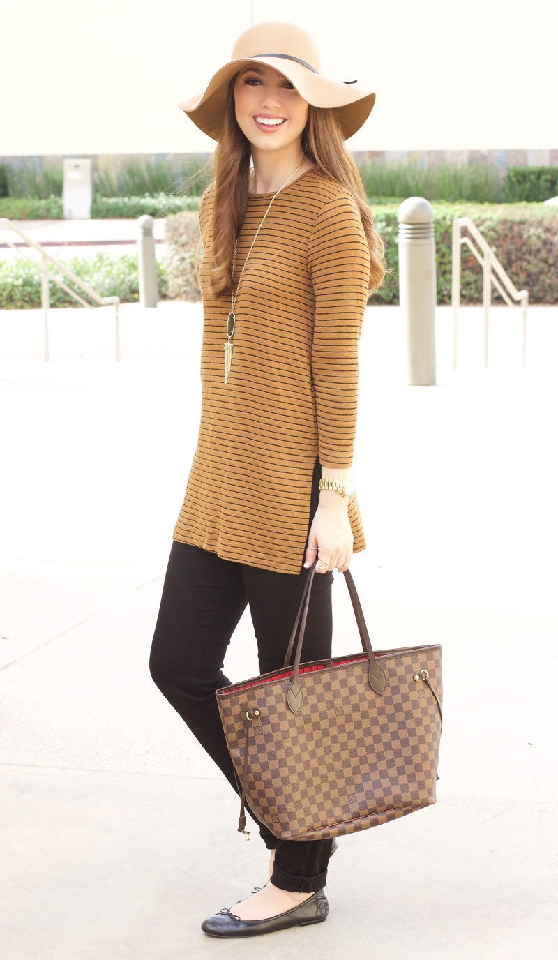 black-slim-pants-camel-tee-stripe-necklace-pend-brown-bag-tote-hairr-hat-black-shoe-flats-fall-winter-thanksgiving-outfits-holidays-lunch.jpg