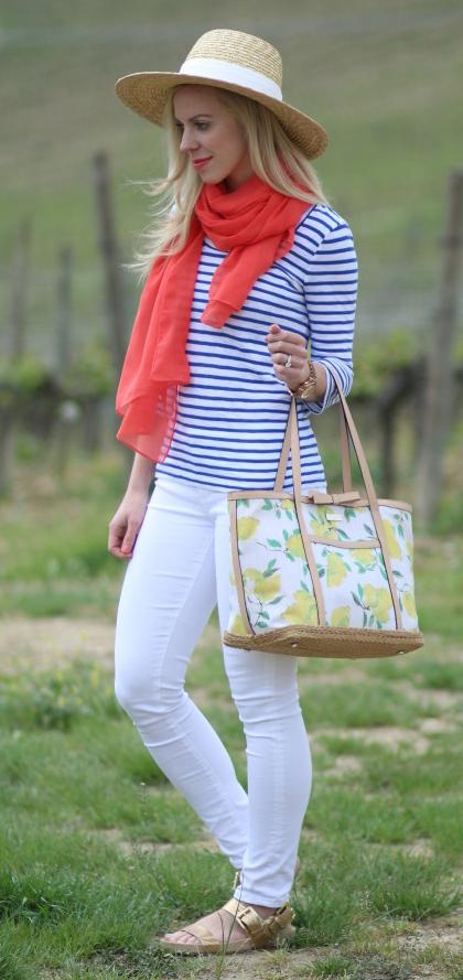 white-skinny-jeans-blue-med-tee-stripe-orange-scarf-hat-tan-bag-tote-tan-shoe-sandals-howtowear-fashion-style-outfit-spring-summer-blonde-weekend.jpg