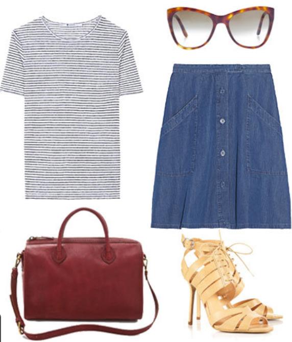 blue-med-aline-skirt-blue-med-tee-stripe-tan-shoe-sandalh-red-bag-sun-wear-style-fashion-spring-summer-jean-button-sandals-work.jpg