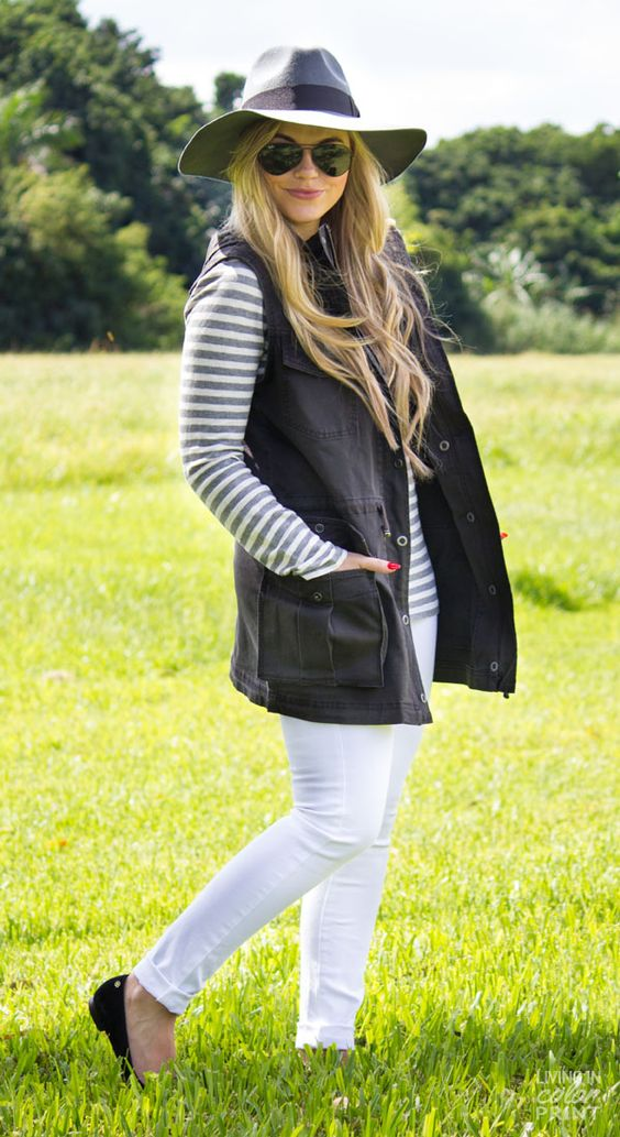 white-skinny-jeans-grayl-tee-stripe-black-vest-utility-hat-sun-blonde-black-shoe-flats-fall-winter-weekend.jpg