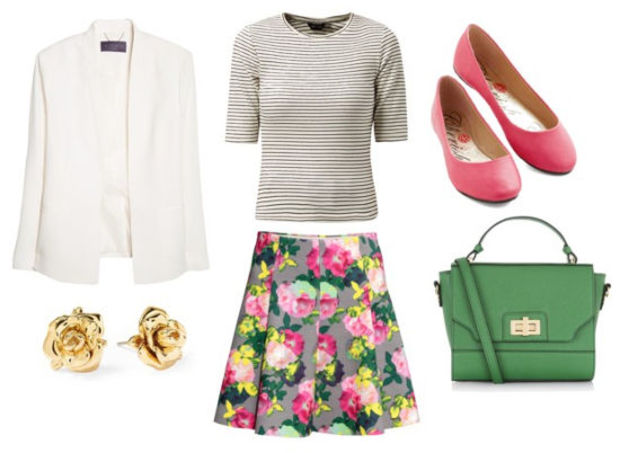 r-pink-light-mini-skirt-grayl-tee-stripe-green-bag-print-howtowear-fashion-style-outfit-spring-summer-white-jacket-blazer-pink-shoe-flats-studs-floral-pleat-lunch.jpg