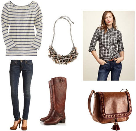 blue-navy-skinny-jeans-green-olive-plaid-shirt-grayl-tee-stripe-brown-shoe-boots-brown-bag-bib-necklace-howtowear-fashion-style-outfit-hairr-fall-winter-weekend.jpg