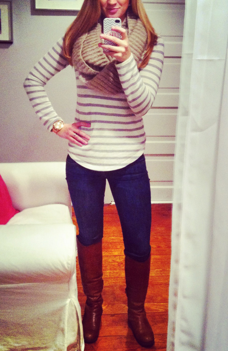 blue-navy-skinny-jeans-grayl-tee-stripe-tan-scarf-howtowear-fashion-style-outfit-fall-winter-brown-shoe-boots-casual-weekend.jpg