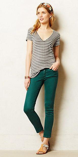 green-dark-skinny-jeans-grayd-tee-stripe-head-pony-tan-shoe-sandals-howtowear-fashion-style-outfit-spring-summer-blonde-weekend.jpg