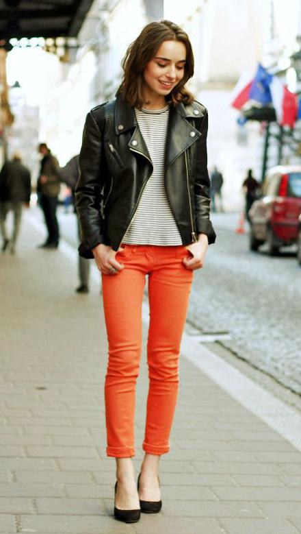 orange-skinny-jeans-grayd-tee-stripe-black-jacket-moto-black-shoe-pumps-howtowear-fashion-style-outfit-fall-winter-brun-lunch.jpg