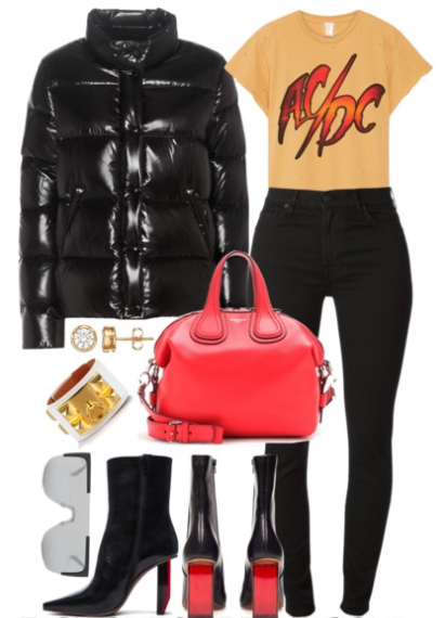 black-skinny-jeans-yellow-graphic-tee-red-bag-black-shoe-booties-sun-studs-black-jacket-coat-puffer-fall-winter-dinner.jpg