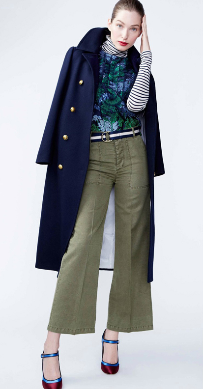 green-olive-culottes-pants-blue-navy-graphic-tee-stripe-blue-navy-jacket-coat-belt-red-shoe-pumps-hairr-bun-fall-winter-army-floral-mix-print-jcrew-lunch.jpg