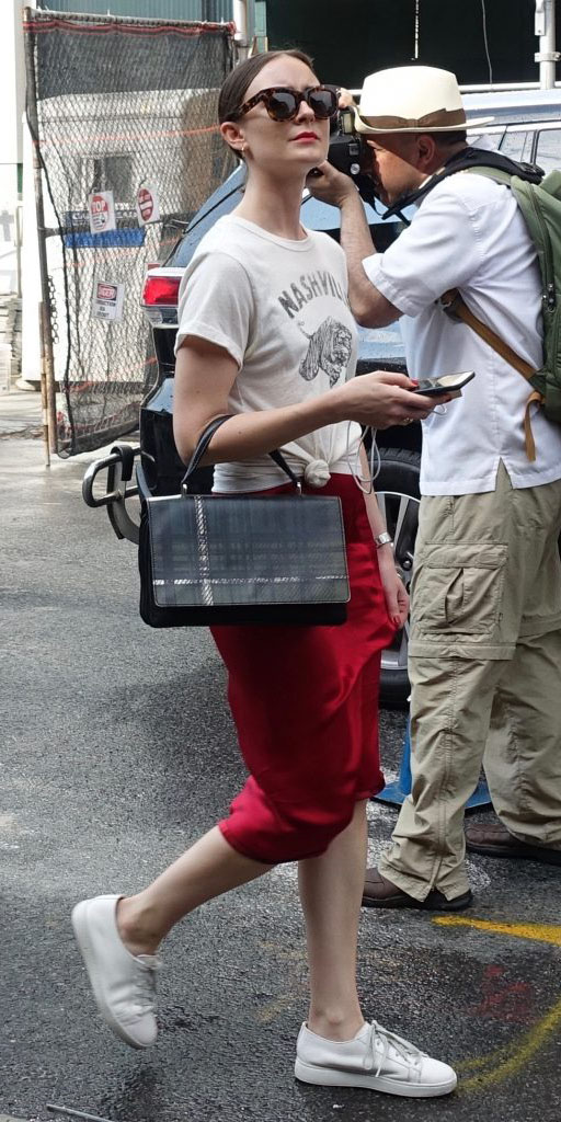 red-midi-skirt-white-graphic-tee-black-bag-sun-bun-white-shoe-sneakers-street-style-spring-summer-hairr-weekend.jpg