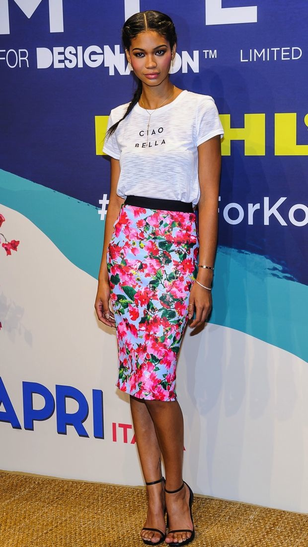 pink-magenta-pencil-skirt-floral-print-chaneliman-braid-white-graphic-tee-black-shoe-sandalh-spring-summer-brun-dinner.jpg