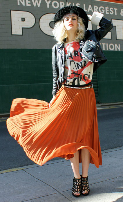 orange-midi-skirt-pleated-white-graphic-tee-black-jacket-moto-hat-blonde-black-shoe-sandalh-fall-winter-lunch.jpg