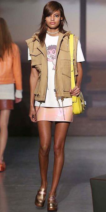 peach-mini-skirt-white-graphic-tee-yellow-bag-brun-choker-camel-vest-utility-tan-shoe-loafers-spring-summer-weekend.jpg