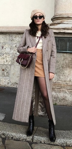 how-to-style-tan-mini-skirt-white-graphic-tee-hairr-sun-beret-hat-burgundy-bag-tan-jacket-coat-black-tights-black-shoe-booties-fall-winter-fashion-lunch.jpg