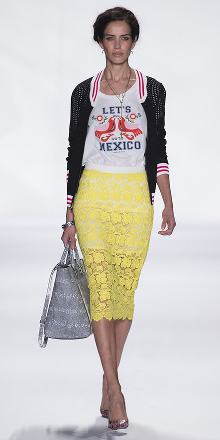 yellow-pencil-skirt-lace-white-graphic-tee-black-jacket-bomber-braid-red-shoe-pumps-gray-bag-spring-summer-lunch.jpeg