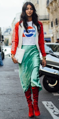 green-light-midi-skirt-silk-white-graphic-tee-brun-red-shoe-boots-red-jacket-bomber-fall-winter-lunch.jpg
