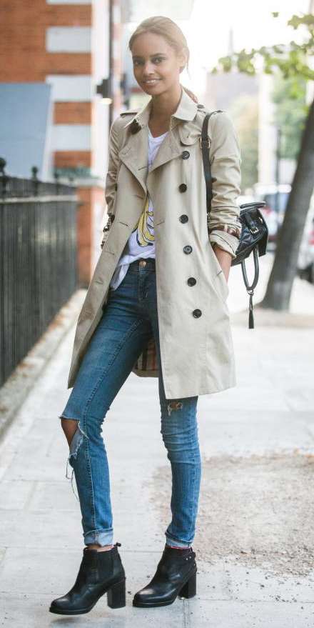 blue-med-skinny-jeans-white-graphic-tee-brun-pony-black-shoe-booties-tan-jacket-coat-trench-fall-winter-weekend.jpg