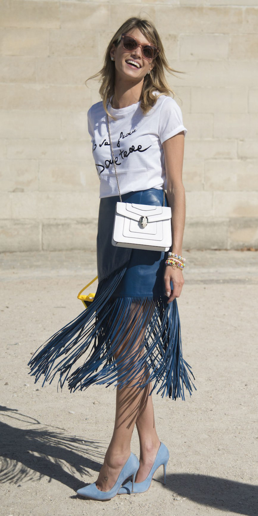 blue-med-midi-skirt-fringe-carwash-white-bag-white-graphic-tee-blonde-sun-blue-shoe-pumps-bracelet-spring-summer-lunch.jpg
