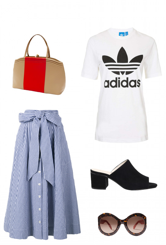 blue-med-midi-skirt-gingham-white-graphic-tee-sun-black-shoe-sandalh-mules-tan-bag-spring-summer-lunch.jpg