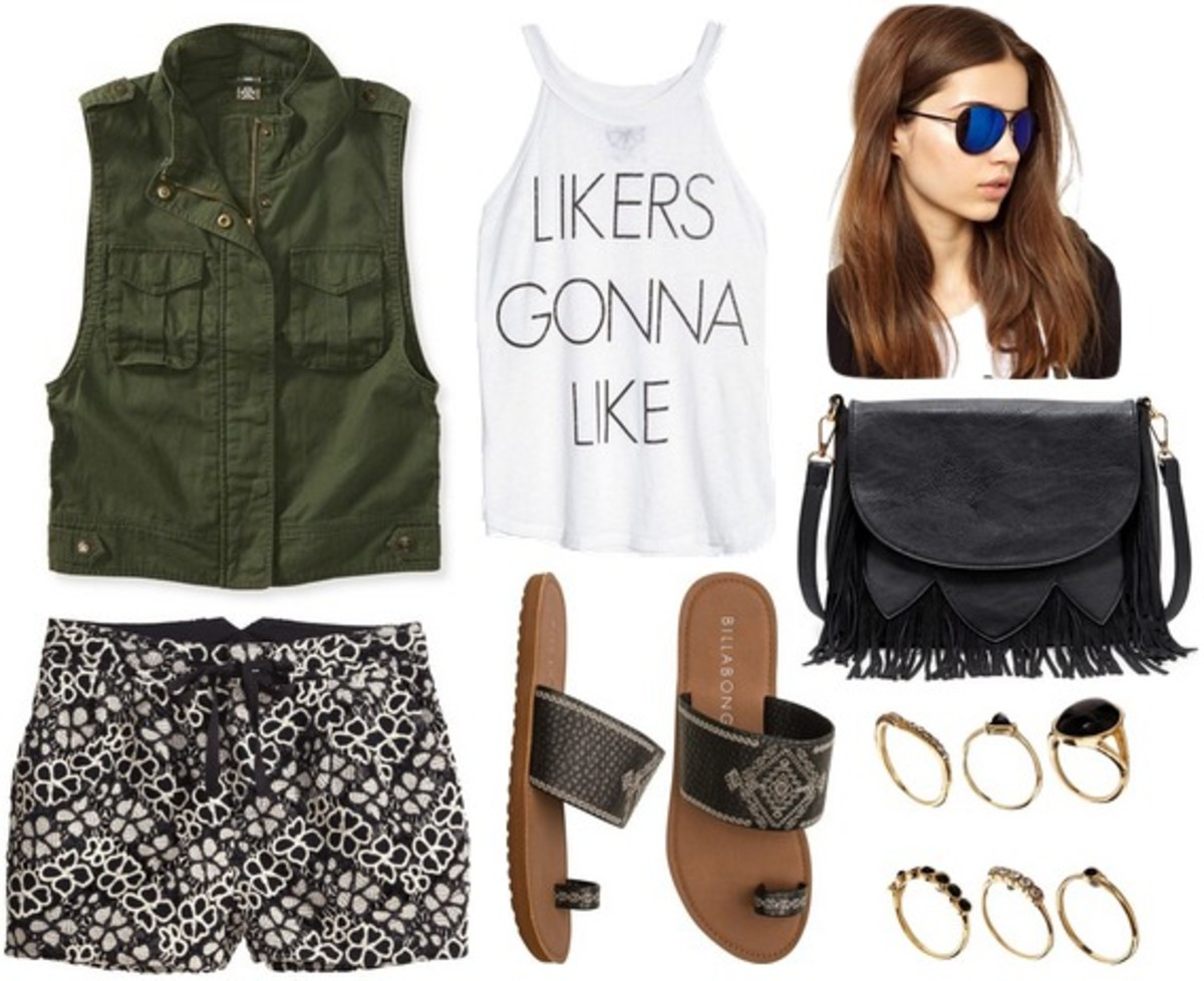 black-shorts-print-black-shoe-sandals-black-bag-sun-hairr-ring-green-dark-vest-utility-white-graphic-tee-spring-summer-weekend.jpg