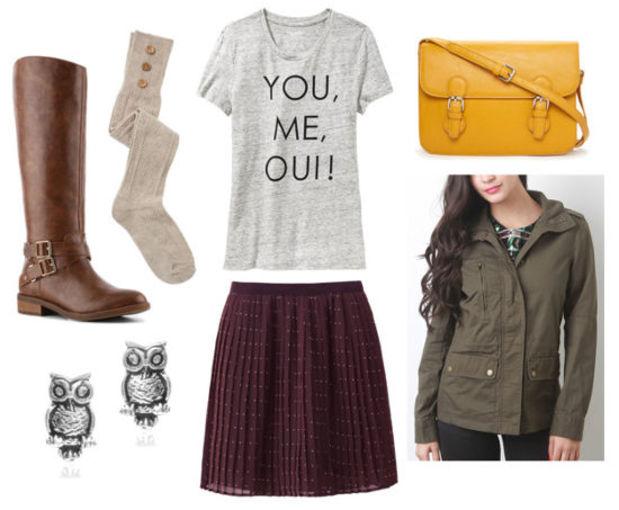 r-burgundy-mini-skirt-grayl-graphic-tee-green-olive-jacket-utility-pleat-fall-winter-socks-brown-shoe-boots-studs-crossbody-yellow-bag-lunch.jpg