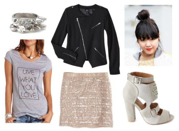 r-pink-light-mini-skirt-grayl-graphic-tee-black-jacket-moto-spring-summer-sequin-white-shoe-sandalh-bun-rings-night-brun-dinner.jpg