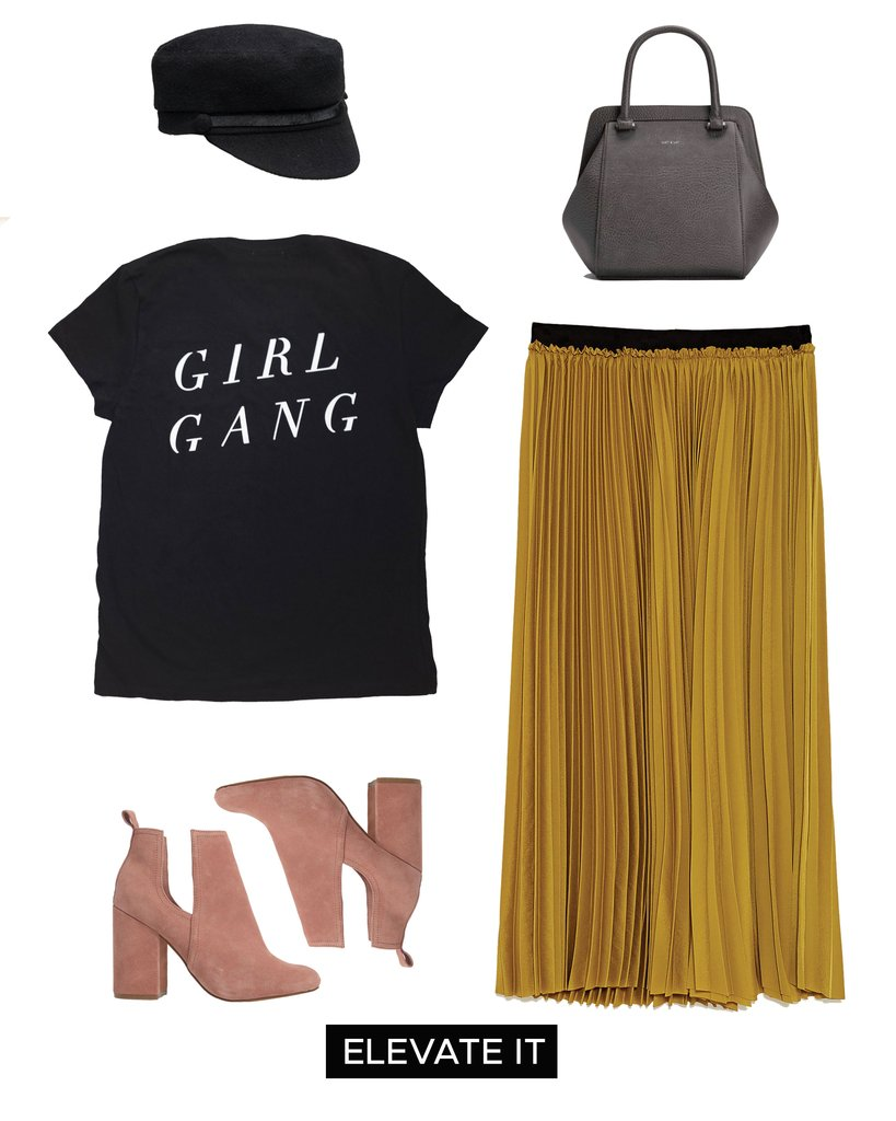 yellow-midi-skirt-pleat-black-graphic-tee-black-bag-tan-shoe-booties-hat-fall-winter-weekend.jpg