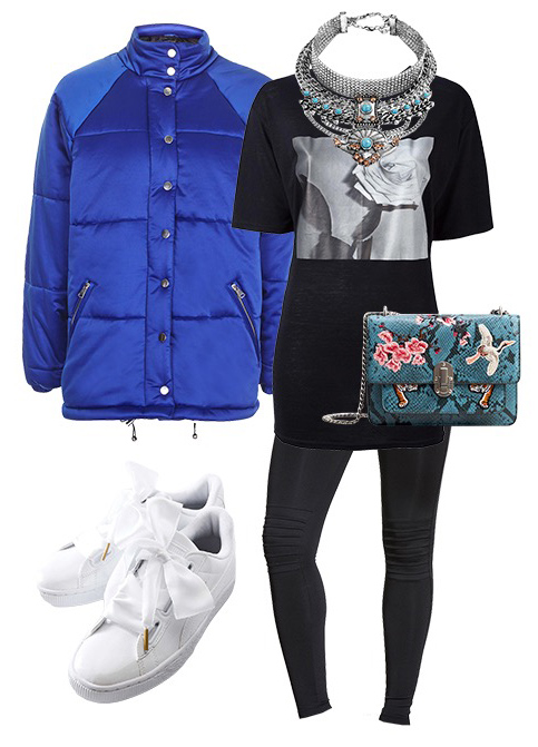 black-leggings-black-graphic-tee-bib-necklace-blue-bag-blue-med-jacket-coat-puffer-cobalt-white-shoe-sneakers-spring-lunch.jpg