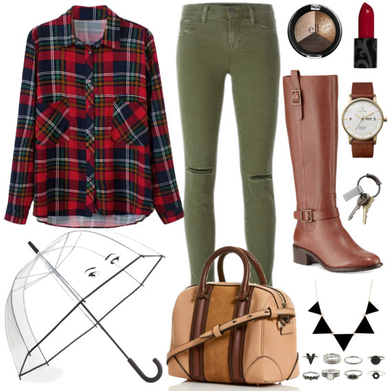 green-olive-skinny-jeans-red-plaid-shirt-tan-bag-necklace-bib-watch-cognac-shoe-boots-howtowear-fashion-style-outfit-fall-winter-weekend.jpg