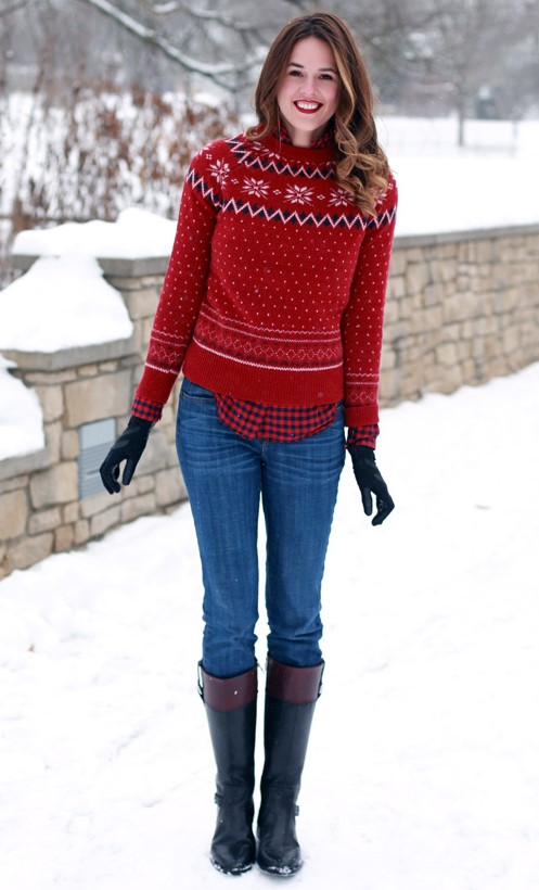 blue-med-skinny-jeans-red-sweater-red-plaid-shirt-hairr-gloves-black-shoe-boots-fall-winter-holiday-christmas-outfits-snow-weekend.jpg