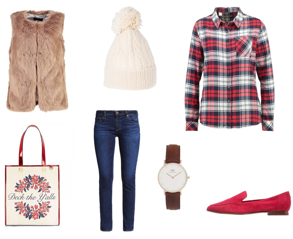 blue-navy-skinny-jeans-watch-red-plaid-shirt-red-shoe-flats-beanie-tan-vest-fur-layer-fall-winter-holiday-christmas-outfits-weekend.jpeg