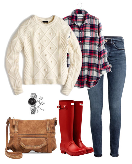 blue-med-skinny-jeans-red-plaid-shirt-white-sweater-red-shoe-boots-wellies-rain-cognac-bag-watch-fall-winter-weekend.jpg