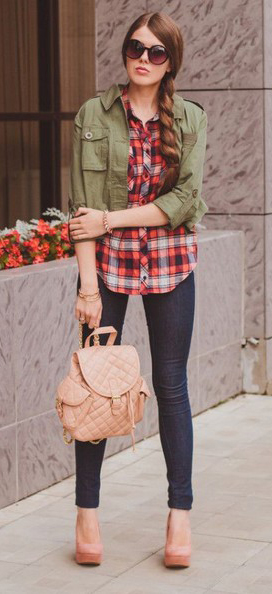 blue-navy-skinny-jeans-red-plaid-shirt-green-olive-jacket-utility-tan-bag-pack-sun-braid-tan-shoe-pumps-howtowear-fashion-style-outfit-hairr-fall-winter-lunch.jpg