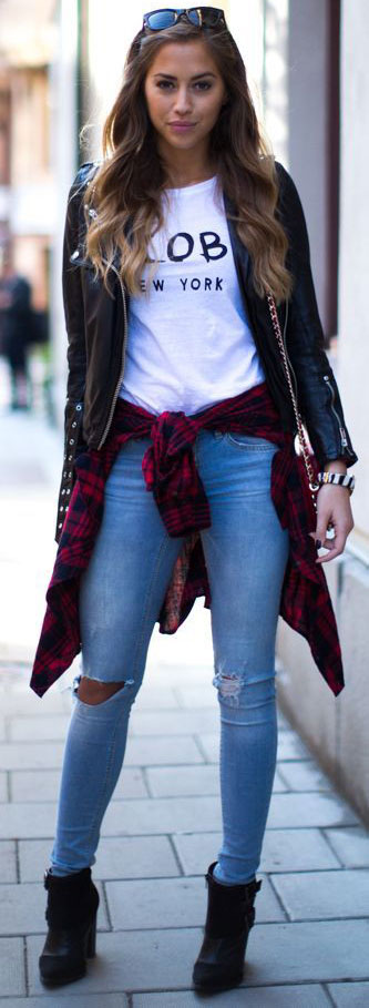 blue-light-skinny-jeans-white-graphic-tee-black-jacket-moto-red-plaid-shirt-tied-black-shoe-booties-hairr-fall-winter-weekend.jpg