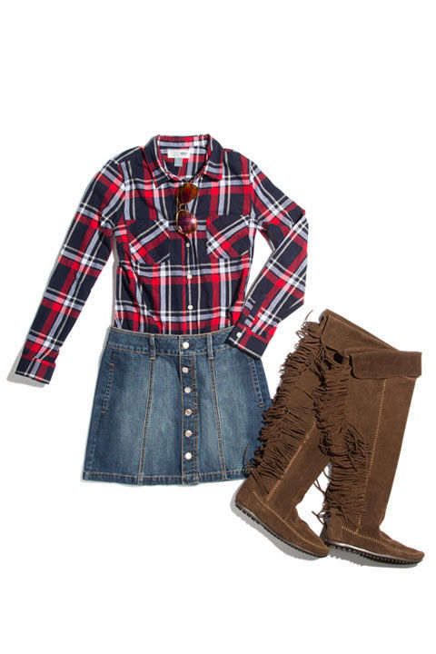 blue-med-mini-skirt-red-plaid-shirt-denim-howtowear-fashion-style-outfit-fall-winter-jean-fringe-brown-shoe-boots-button-weekend.jpg