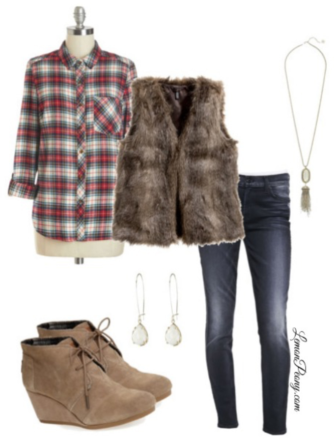 blue-navy-skinny-jeans-red-plaid-shirt-earrings-necklace-pend-howtowear-fashion-style-outfit-fall-winter-tan-vest-fur-tan-shoe-booties-lunch.jpg