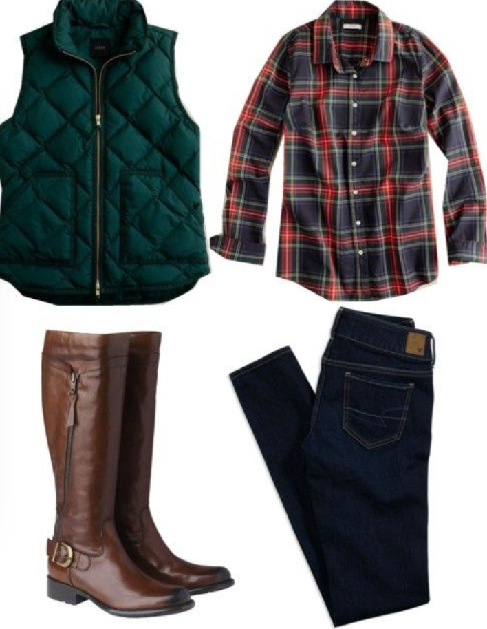blue-navy-skinny-jeans-red-plaid-shirt-howtowear-fashion-style-outfit-fall-winter-green-emerald-vest-puffer-brown-shoe-boots-weekend.jpg