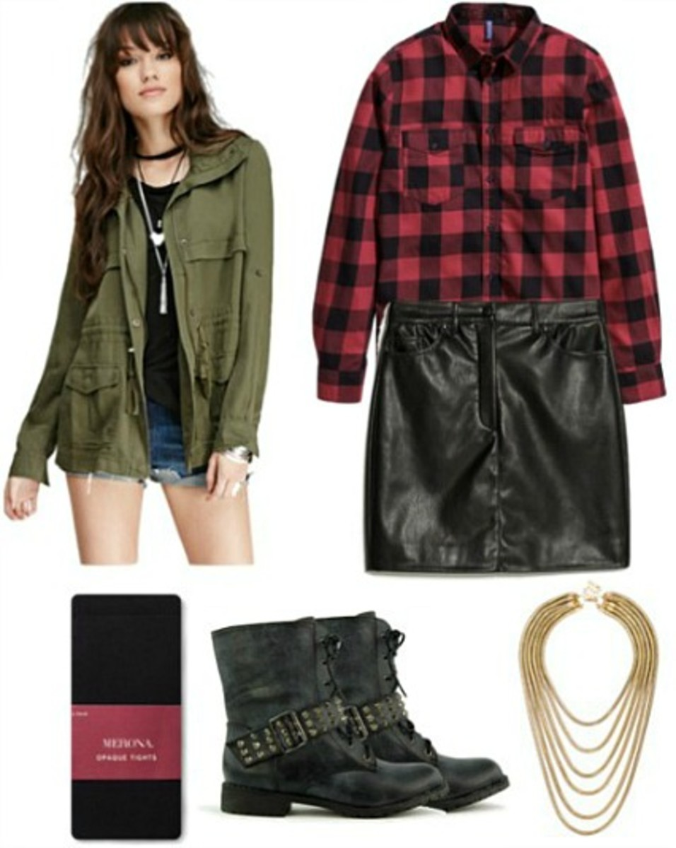 black-mini-skirt-red-plaid-shirt-green-olive-jacket-utility-black-shoe-booties-black-tights-necklace-leather-howtowear-fashion-style-outfit-brun-fall-winter-dinner.jpg