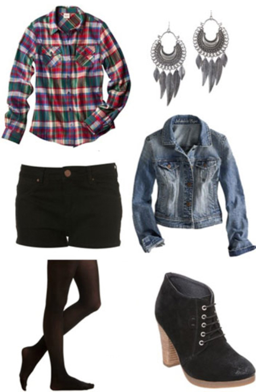 black-shorts-red-plaid-shirt-blue-light-jacket-jean-howtowear-fashion-style-outfit-fall-winter-black-tights-earrings-black-shoe-booties-denim-weekend.jpg