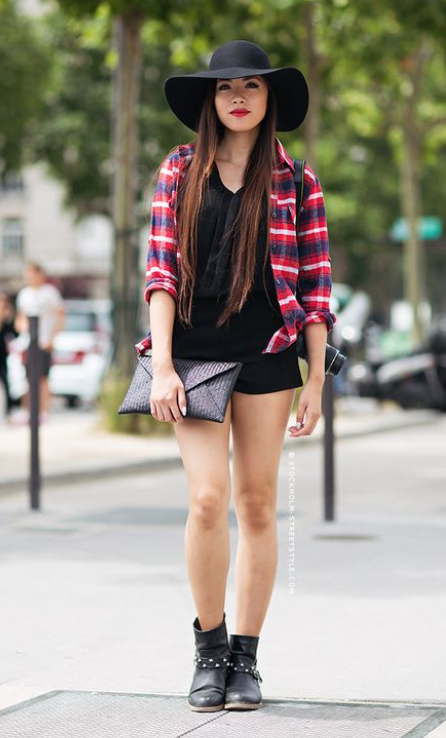 black-shorts-black-tee-red-plaid-shirt-howtowear-fashion-style-outfit-fall-winter-hat-black-shoe-booties-black-bag-brun-weekend.jpg