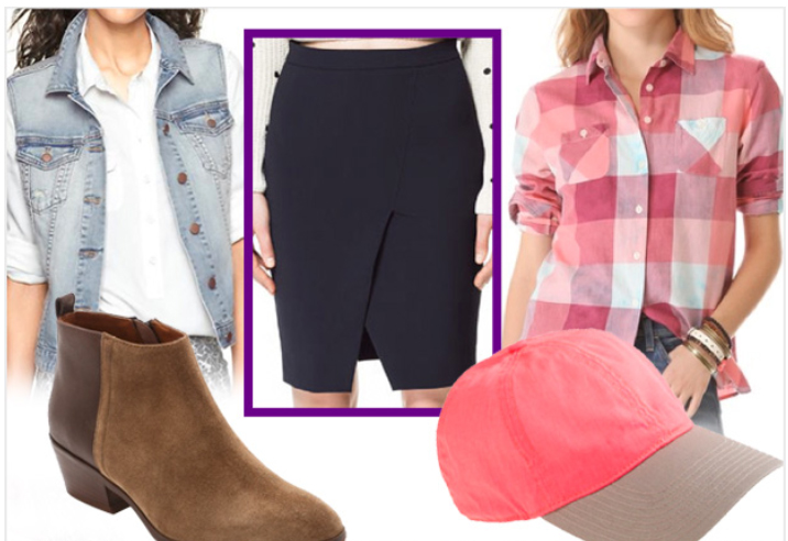 black-pencil-skirt-r-pink-light-plaid-shirt-blue-light-vest-jean-tan-shoe-booties-howtowear-style-fashion-spring-summer-hat-cap-booties-weekend.jpg