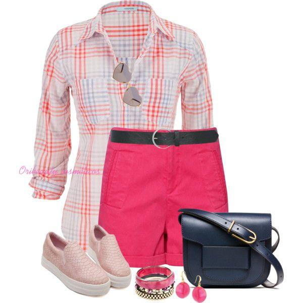 r-pink-magenta-shorts-r-pink-magenta-plaid-shirt-pink-shoe-sneakers-jewel-earrings-bracelet-blue-bag-howtowear-fashion-style-spring-summer-outfit-weekend.jpg